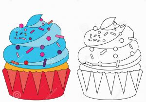 Halloween Cupcake Coloring Pages Coloring Page with Cupcake Stock Vector Illustration Of