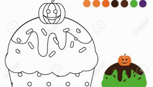 Halloween Cupcake Coloring Pages Stock