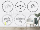Hand Drawn Wall Murals Wall Murals Hand Drawn Valentine S Set with Wreath Heart