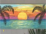 Hand Painted Beach Wall Murals Beach Palm Trees Sunset Custom Sign 36×16 Palm Trees