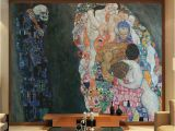 Hand Painted Bedroom Wall Murals Gustav Klimt Oil Painting Life and Death Wall Murals