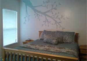 Hand Painted Bedroom Wall Murals Light and Airy Bedroom with Faint Tree Branch Hand Painted