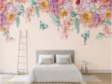 Hand Painted Floral Wall Murals Custom 3d Mural Wallpaper Modern Hand Painted Fresh Rose butterfly Living Room Tv Home Background Wall Paper 3d Papel De Parede Free High Res