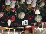 Hand Painted Flower Wall Mural 3d Wall Murals Wallpaper Retro Hand Painted Floral Wall