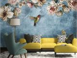 Hand Painted Flower Wall Mural European Style Bold Blossoms Birds Wallpaper Mural ㎡ In