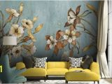 Hand Painted Flower Wall Mural Vintage Floral Wallpaper Retro Flower Wall Mural Watercolor