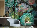 Hand Painted Flower Wall Mural Watercolor Hand Painted Tropical Plants Succulent