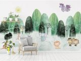 Hand Painted Nursery Wall Murals Kids Wallpaper Cartoon Tree and Animals Wall Mural Child