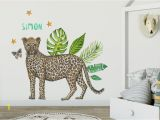 Hand Painted Nursery Wall Murals Wall Sticker with Name Leopard Kids Room Styling Newborn Baby Child Baby Room 70x50cm Handpainted Watercolor