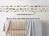 Hand Painted Nursery Wall Murals Watercolor Patterned Fish Stickers Under the Sea Ocean