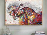 Hand Painted Wall Murals Artist Artist Hand Painted High Quality Modern Abstract Horse Oil Painting On Canvas Colorful Running Horse Oil Painting for Wall Decor