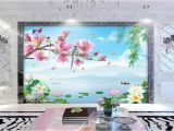 Hand Painted Wall Murals Pricing 3d Wallpaper Custom Non Woven Mural Flower and Bird Rhyme