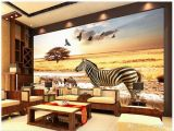 Hand Painted Wall Murals Uk Papel De Parede 3d Custom Mural Wallpaper African Grassland Zebra Eagle Decorative Painting Wallpapers Living Room Background Wall