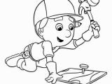 Handy Manny Coloring Pages to Print Handy Manny Using Pat the Hammer Coloring Page Download