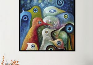 Hanging Canvas Murals Animal Single Painting Multi Color Abstract Square Birds Canvas