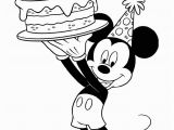 Happy Birthday Mickey Mouse Coloring Pages Happy Birthday Mickey Mouse with Celebration Cake Coloring