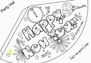 Happy New Year Coloring Pages Printable Print Out Happy New Year Party Hat Coloring for Kids Printable