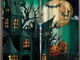 Haunted House Wall Mural Amazon Blountdecor Halloween Window Curtain Haunted