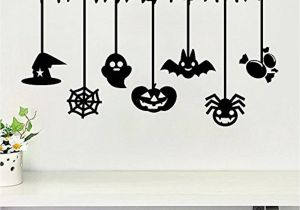Haunted House Wall Mural Halloween Pumpkin Ghost Bat Spider Wall Decals Window