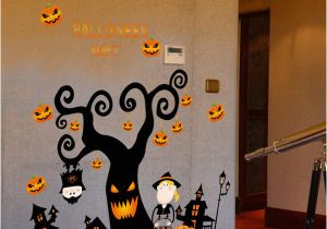 Haunted House Wall Mural Retail Kids Big Halloween Wall Stickers Tree Haunted House Pumpkin Light Wall Sticker Window Sticker Decorative Pvc Wallpapers Home Decor Wall Decal