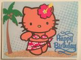 Hawaiian Hello Kitty Coloring Pages Hawaiian themed Hello Kitty Happy Birthday Cricut Card with