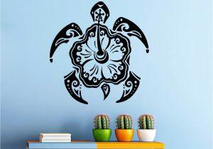 Hawaiian Wall Murals Wall Decal Turtle Animal Stickers Hawaiian Style Bathroom Decor Art