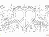 Heart and Peace Sign Coloring Pages Peace and Love Coloring Page