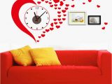 Heart Wall Mural Dc Diy Big Red Heart Wall Stickers Clock Home Decoration Living