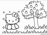 Hello Kitty and Mimmy Coloring Pages Hello Kitty with Apple Tree Coloring Page Free Coloring