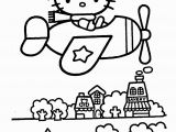 Hello Kitty Coloring Pages at the Beach Hello Kitty On Airplain – Coloring Pages for Kids with