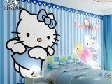 Hello Kitty Giant Wall Mural Free Shipping Custom Size Children S Room Hello Kitty Cartoon Wallpaper Mural Waterproof Girl Boy Wall Paper for Kids Bedroom
