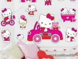 Hello Kitty Giant Wall Mural Pink Hello Kitty Wall Stickers Girls Room Decal Decor Paper Vinyl Reusable