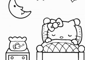 Hello Kitty Sleeping Coloring Pages Lovely Sleeping Hello Kitty Coloring Page