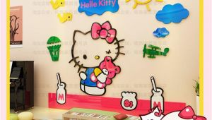 Hello Kitty Wall Murals Stickers Hello Kitty Sunshine Bird Sky 3d Wall Decal Stickers Room Decor Nursery Bedroom Decoration Arcylic Mirror Surface
