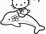 Hello Kitty with Dolphin Coloring Pages Hello Kitty Rides A Dolphin Coloring Page