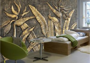 Historic Wallpaper Murals Beibehang Custom Wallpaper Murals Golden Bird Of Paradise Sculpture
