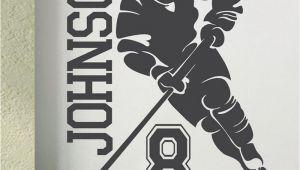 Hockey Wall Murals Ice Hockey 2018 Custom Name & Number Hockey Player Vinyl Wall Decals