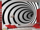 Hole In Wall Mural Black White 3d Tunnel 3 09m X 400cm Wallpaper In 2020
