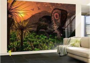 Hollywood Sign Wall Mural Wall Mural A Lone torosaurus Dinosaur Feeding On Plants by