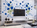Home Decor Mural Art Wall Paper Stickers wholesale Blue Flower Mural Rose 3d Wall Stickers Mural