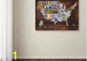 "Home Depot Canada Wall Murals 18 In X 24 In ""usa License Plate Map On Wood"" by Masters Fine Art Printed Canvas Wall Art"