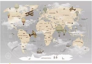 Home Depot Canada Wall Murals Pennie Vintage World Map Hot Air Balloon Textile Texture Wall Mural