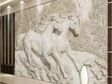 Horse Murals for Bedroom Walls Custom Mural Wallpaper 3d Stereo Relief White Horse Wall