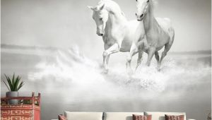 Horse Murals for Bedroom Walls Customized Any Size Wall Mural Wallpaper White Horse 3d Embossed