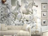 Horse Murals for Bedroom Walls Great Wall 3d White Horse Wall Murals Wallpaper 3d Horse Custom Wall
