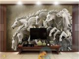Horse Murals for Walls Beibehang 3d Wallpaper Stereo Horse Relief Background Wall Mural 3d