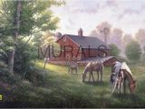 Horse Stable Wall Mural Country Road with Horses and Barn Mural Wallpaper