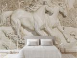 Horse themed Wall Murals Custom Any Size Mural Wallpaper 3d Embossed White Horse Wallpaper Living Room Bedroom sofa Tv Home Decoration Background Mural Wallpapers Downloads