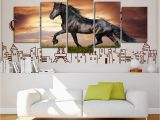 Horse themed Wall Murals Indian Black Short Legs Horse Drawing Room Decoration Painting Bedroom Painting