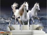 Horse themed Wall Murals Wallpaper 3d Stereo White Horse Spray Splash Landscape Mural Living Room Bedroom Classic Home Decor Wallpaper for Walls 3d Full Hd Wallpaper
